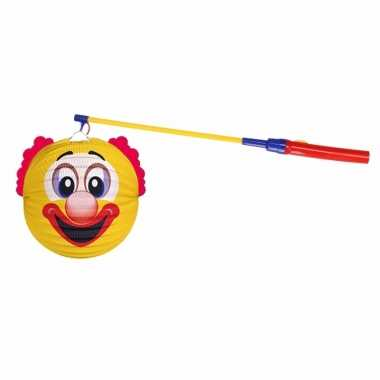 Gele clown lampion halloween lampionstokje