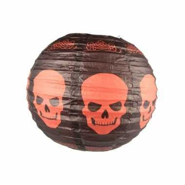 Zwarte lampion halloween schedels